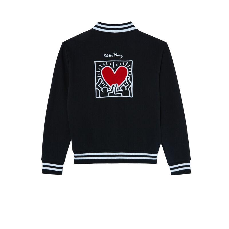 veste à imprimé coeur Keith Haring - noir;