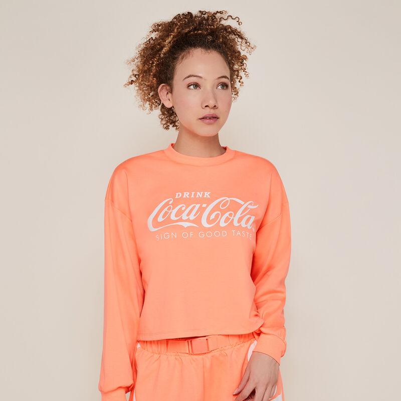 Sweat col rond coca-cola - corail fluo;