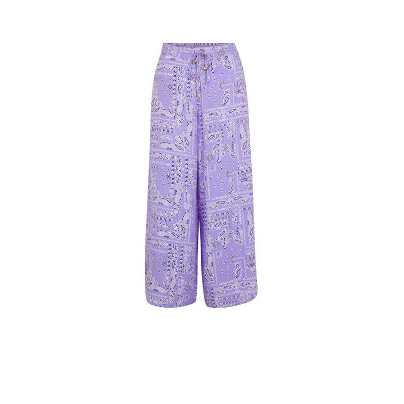 Pantalon large imprimé bandana - lilas ;