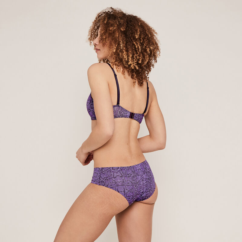 Shorty en micro imprimé serpent - violet;