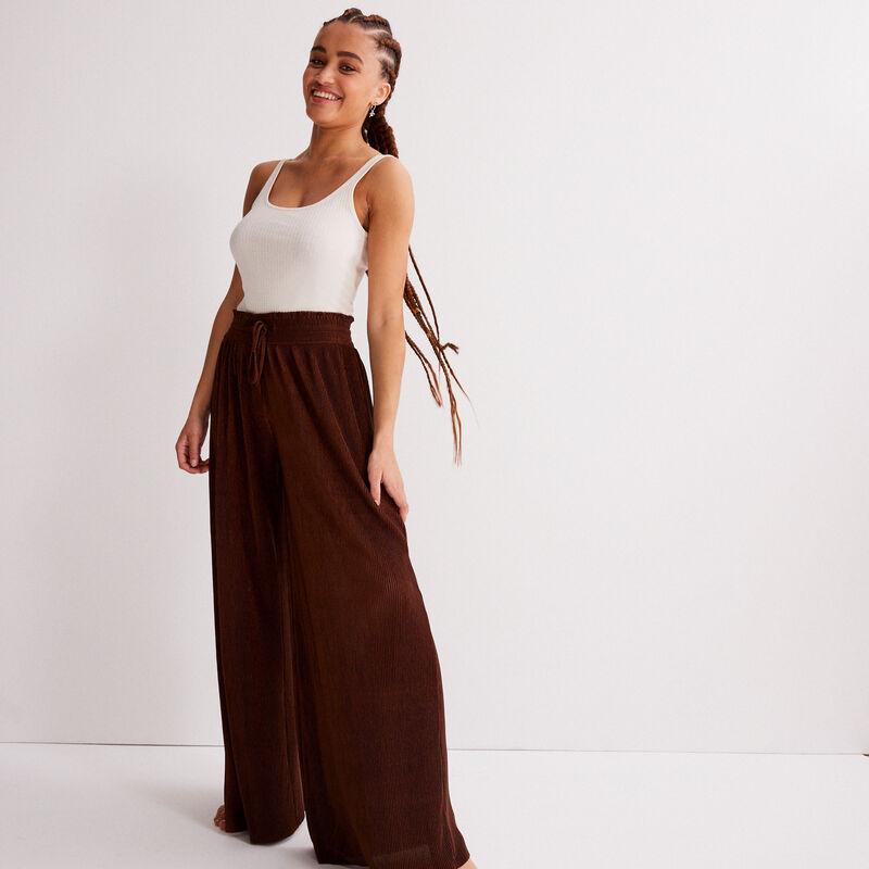 pantalon large à taille froncée - marron;