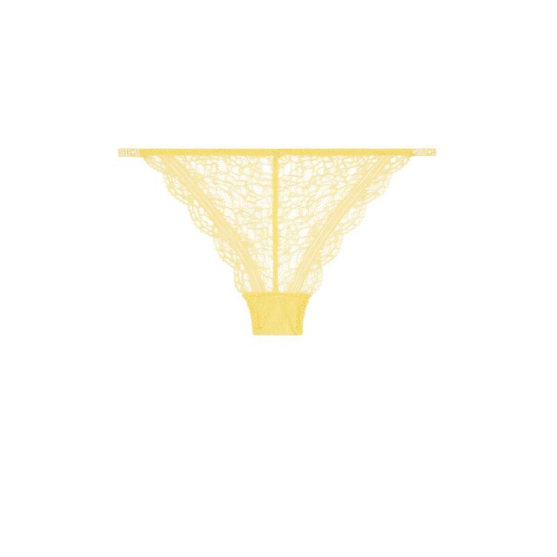 Culotte en dentelle détail banding - jaune pastel;