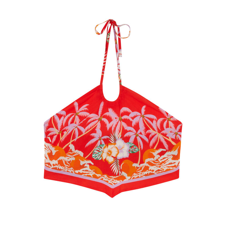 top en satin dos nu à motifs fleurs tropicales - rouge;