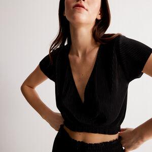 top plissé manches courtes cache-coeur - noir