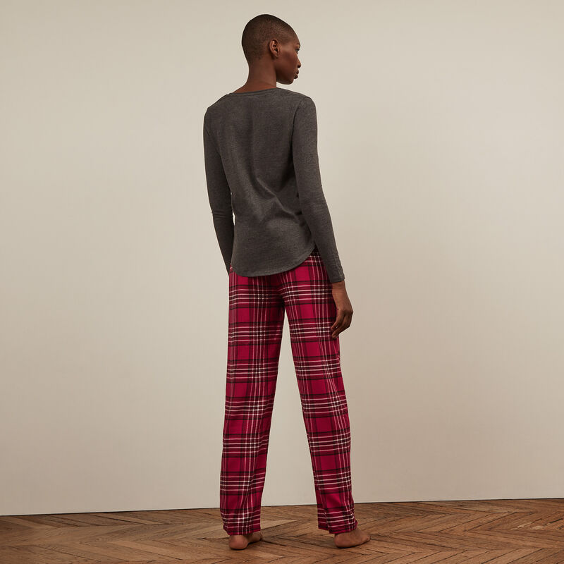 Pantalon à carreaux - rouge;