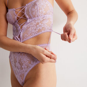 body tout dentelle effet corset - lilas