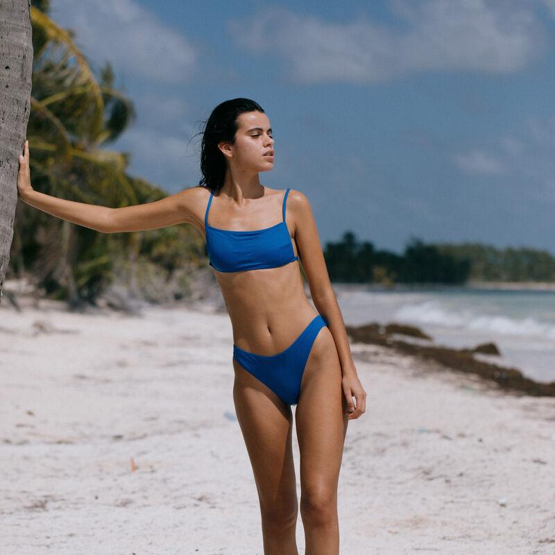 haut de maillot de bain brassière unie - bleu;