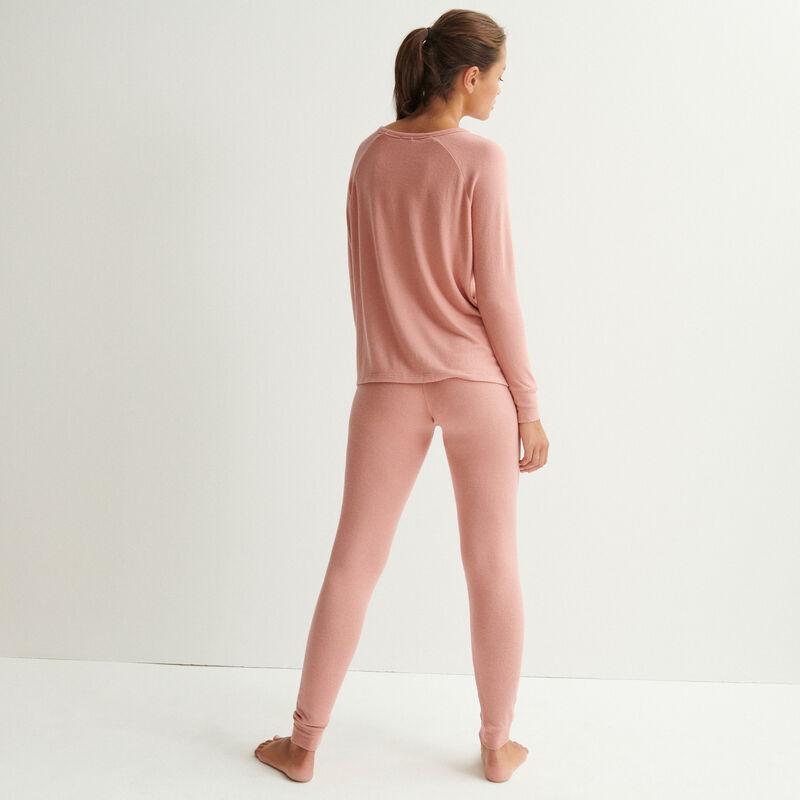top en maille à manches longues - rose nude;