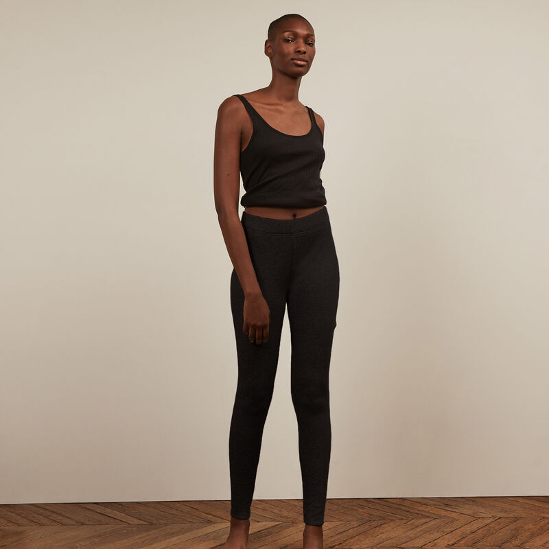 legging en molleton - noir;