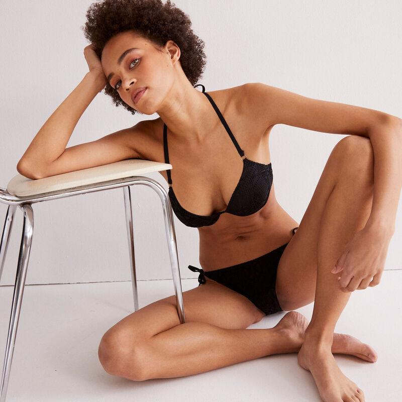 bas de maillot bikini crochet - noir;