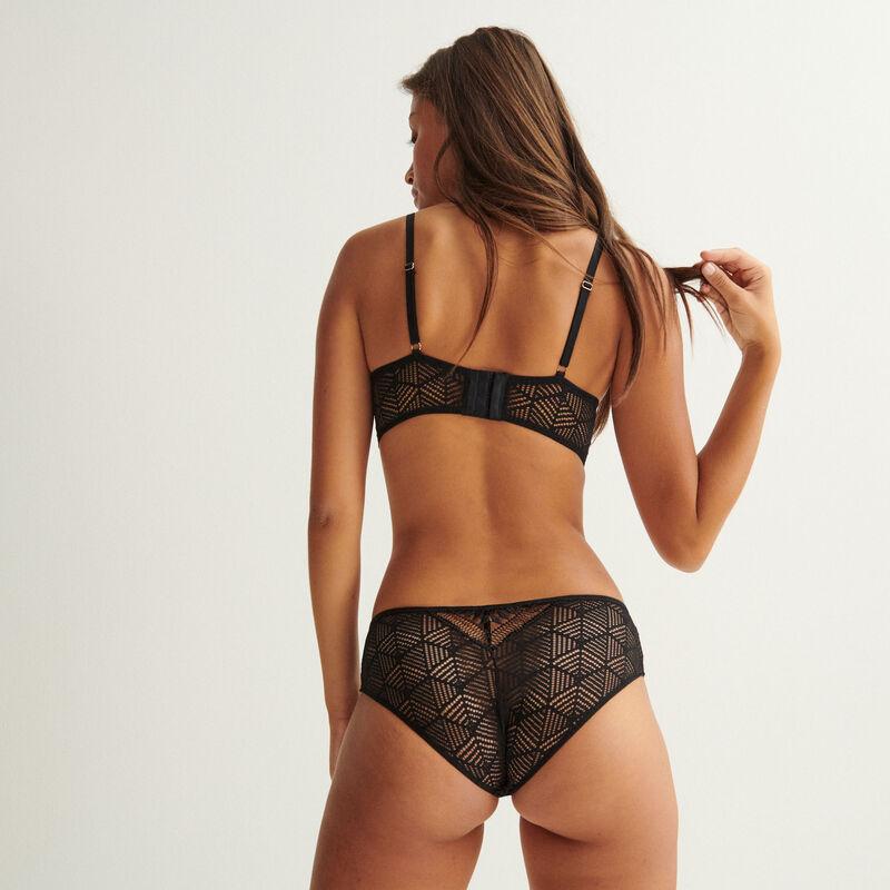 culotte en dentelle effet symétrique - noir;