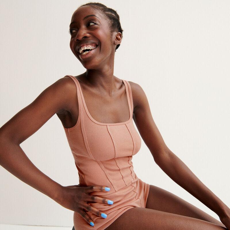 """top effet corset Aya x undiz """"jolie nana"""" en pointelle - rose nude;"""