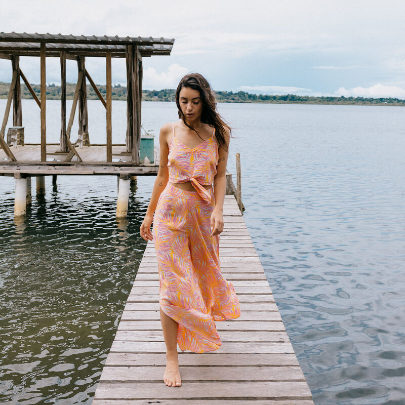 pantalon large ouvert motifs palmier - orange;
