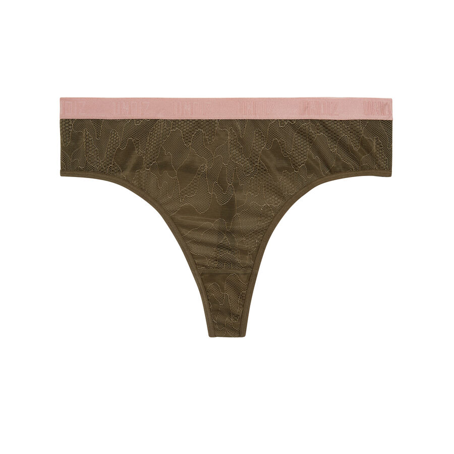 Combatiz khaki green high-waisted thong;${refinementColor}