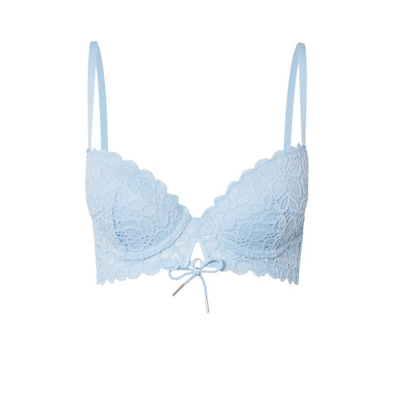 soutien-gorge ampli en dentelle fleurie détail noeud - bleu;