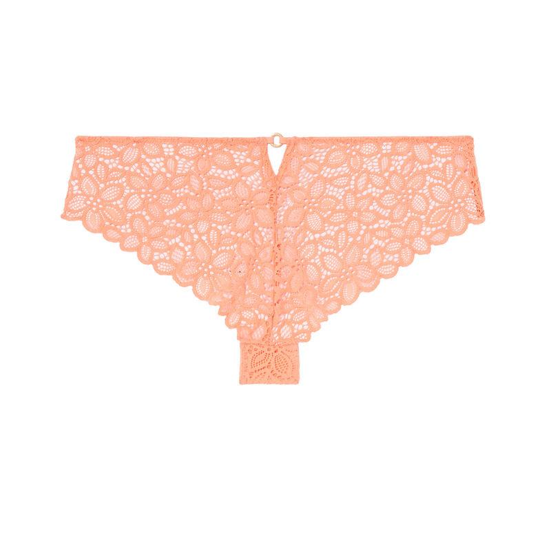 shorty à dentelle fleurs détail anneau - peach;