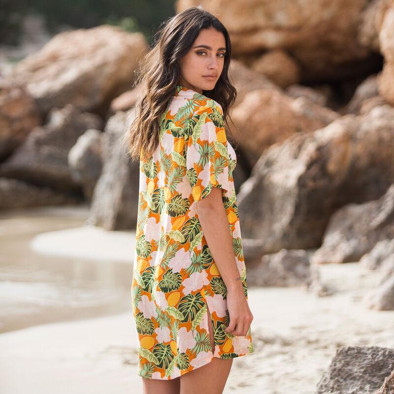 chemise de plage imprimé tropical - orange;