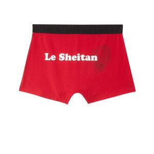 """boxer à message """"le sheitan"""" - rouge"""