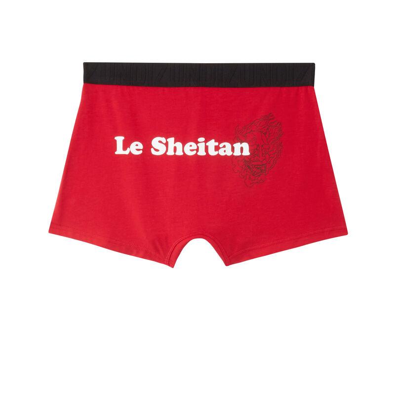 """boxer à message """"le sheitan"""" - rouge;"""