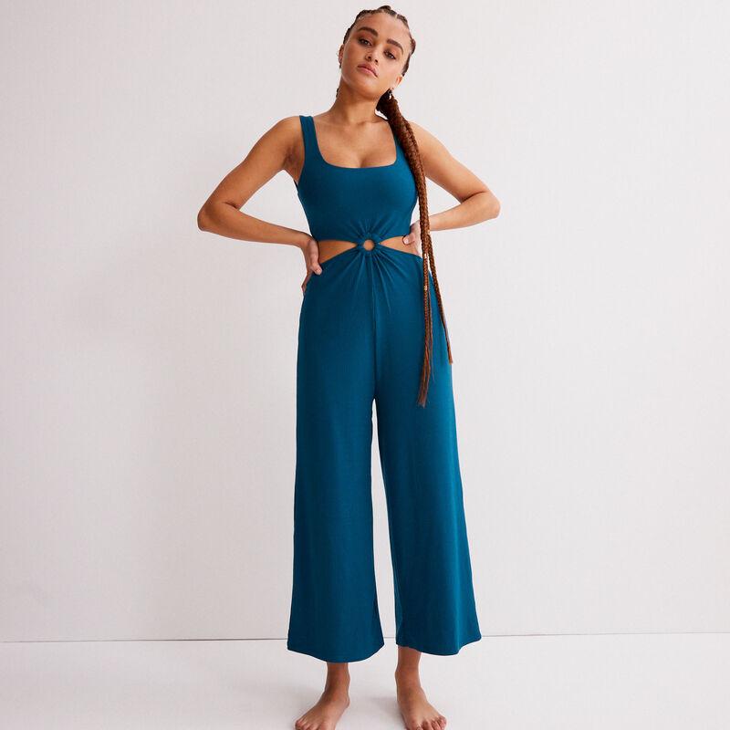 combinaison pantalon à détail anneau - bleu;