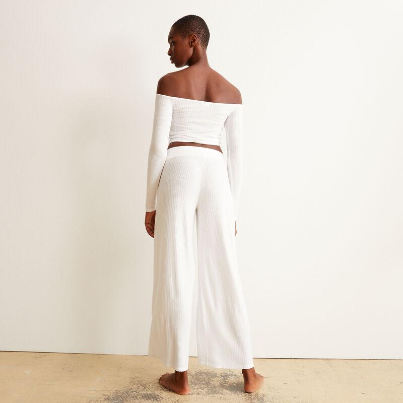 pantalon en maille à taille élastique - écru;