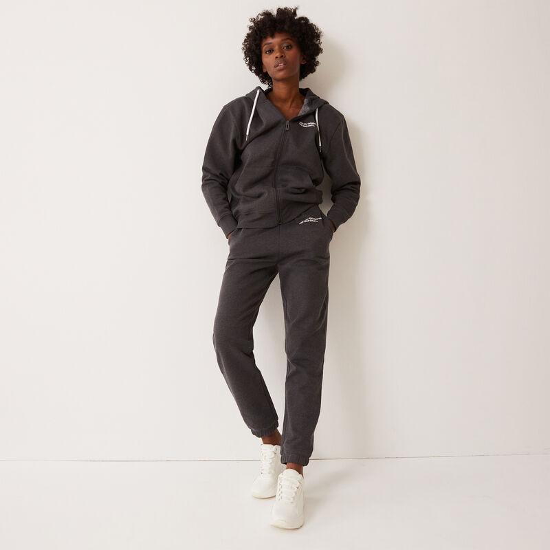 pantalon froncé taille et cheville à message - gris;