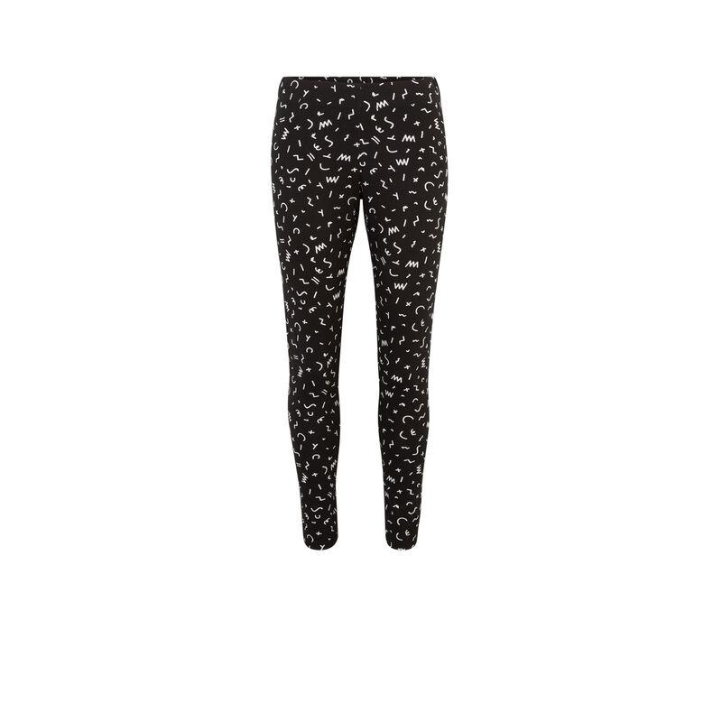legging à motifs blancs - noir ;