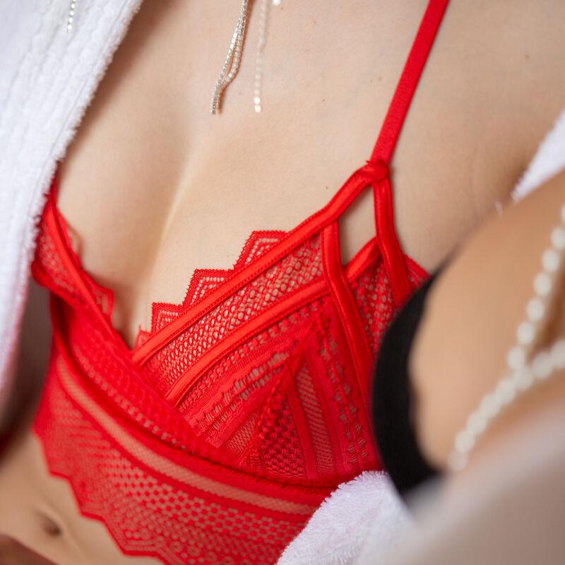 soutien-gorge triangle sans armatures détail dos - rouge;