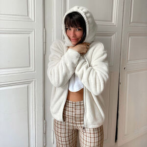veste en polaire à zip anneau et capuche - crème