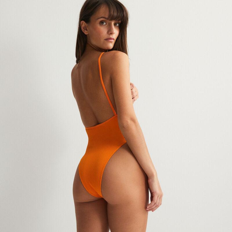 body échancré taille haute dos nu - orange;