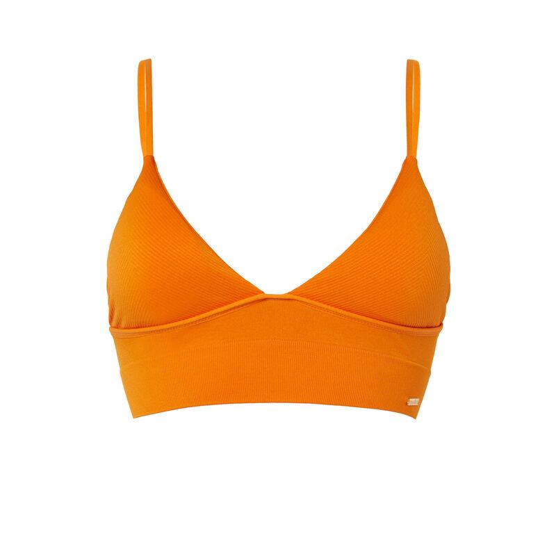soutien-gorge triangle cotelé sans armatures - orange;