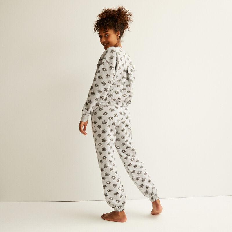 pantalon en polaire à motifs meeko - gris;