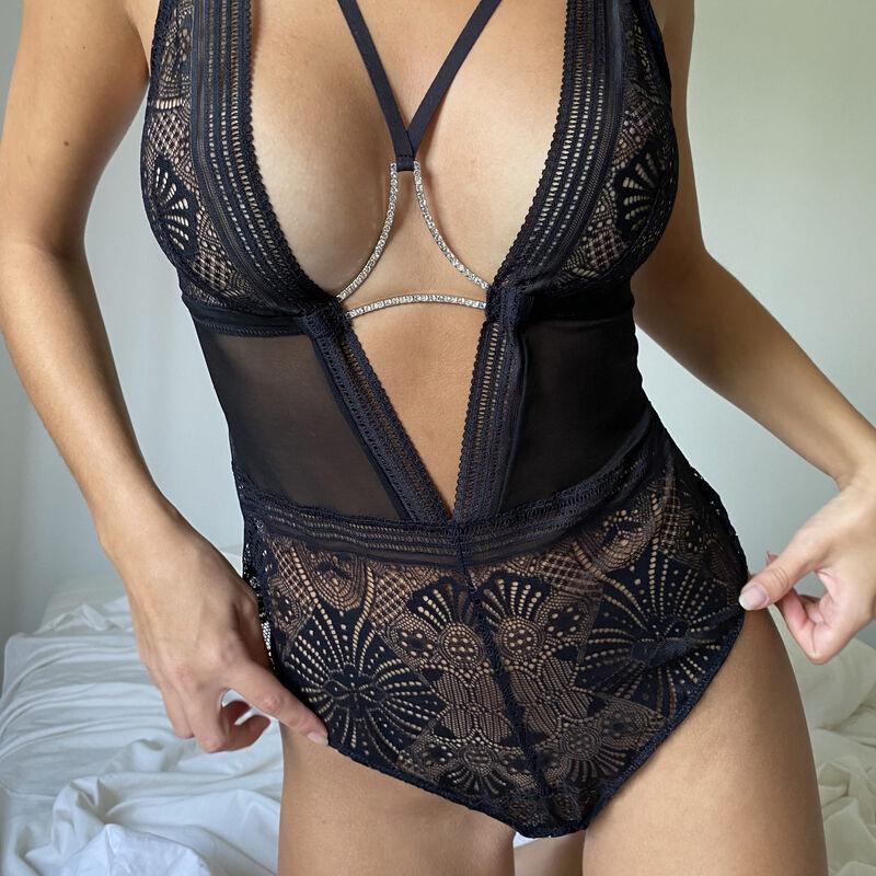 body sans armatures à détails liens et strass - noir;