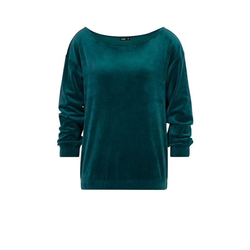 Sweat en velours - vert sapin;