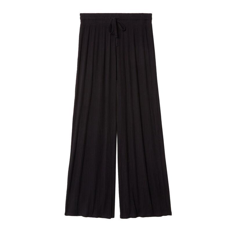 pantalon évasé en maille - noir;