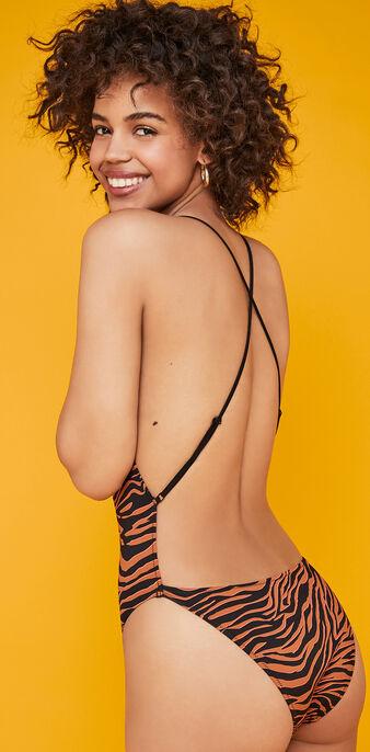 Maillot de bain une pièce marron afrozebriz brown.