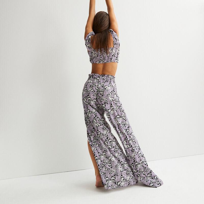 pantalon large fendu motifs papillons- lilas;