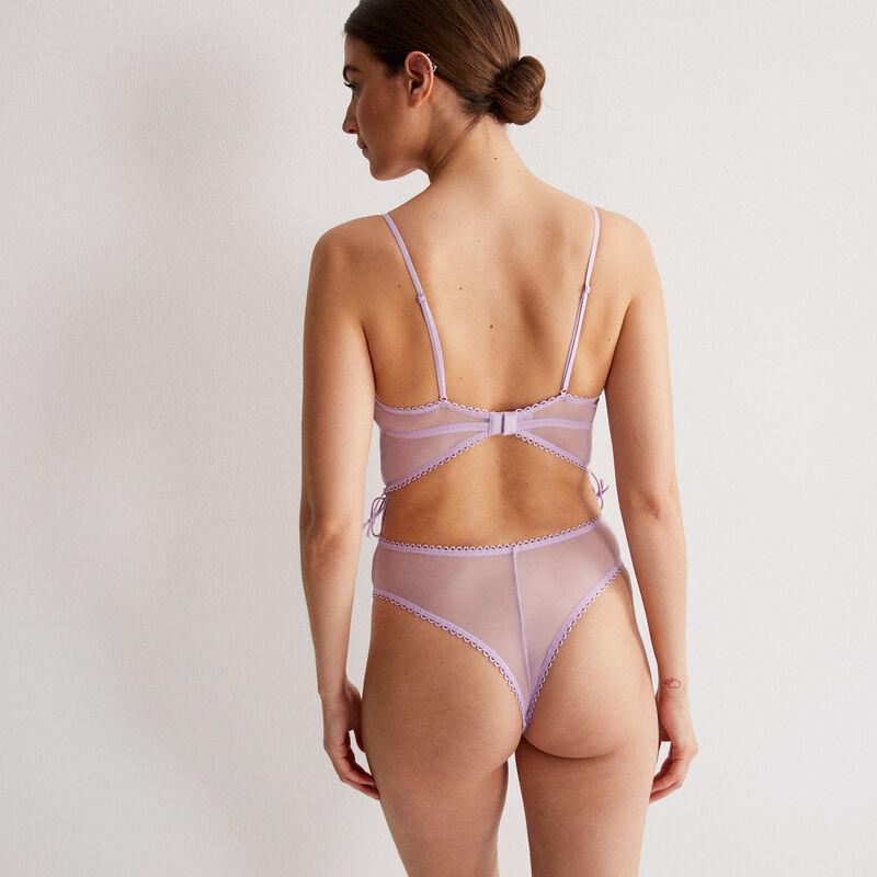body tout dentelle effet corset - lilas;