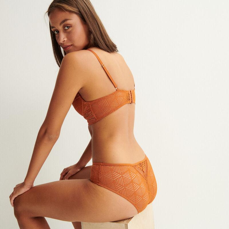 soutien-gorge push-up bustier détails perles dorées - camel;